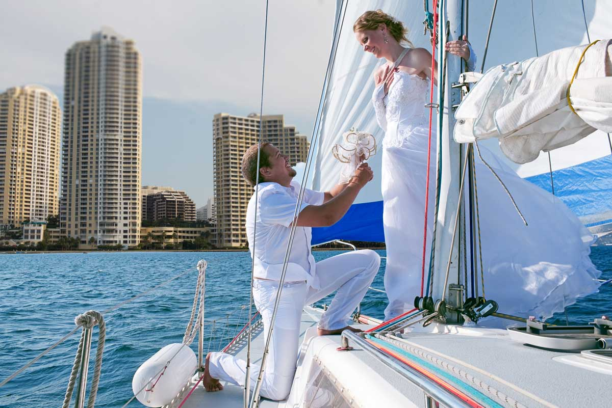 Wedding on a yacht with miami skyline