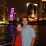 Couple on a boat with miami skyline behind them for valentines day