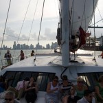 catamaran-sailing-miami party people on boat