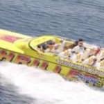 55-foot Super Cat top view people inside speed boat