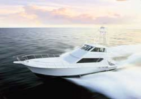 70-foot Hatteras sport fishing yacht side view on speed