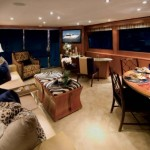 72-foot Hatteras dining room