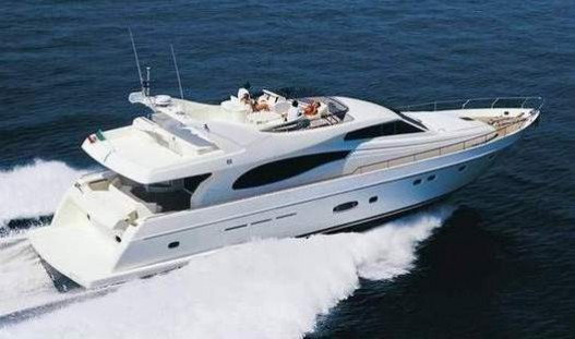73-foot Ferretti Yacht water waves