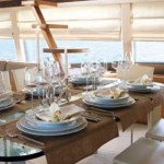 73-foot Ferretti Yacht dining table stairs