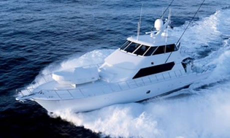 90-foot Hatteras sport fishing yacht top view